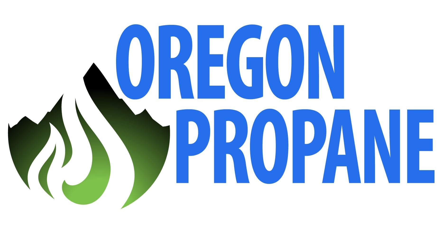 "Blue text saying ""OREGON PROPANE"" sits to the right of a green mountain with a flame cut out of it"