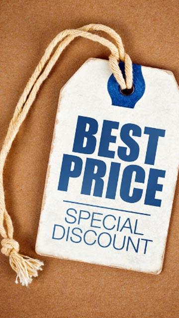 "a tag saying ""best price, special discount"" sits on a corkboard backgroud."