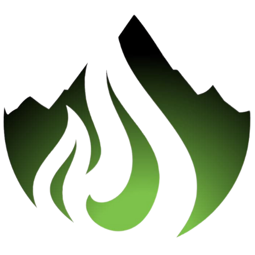 Oregon propane small logo: dark green mountain with a flame cut out of it